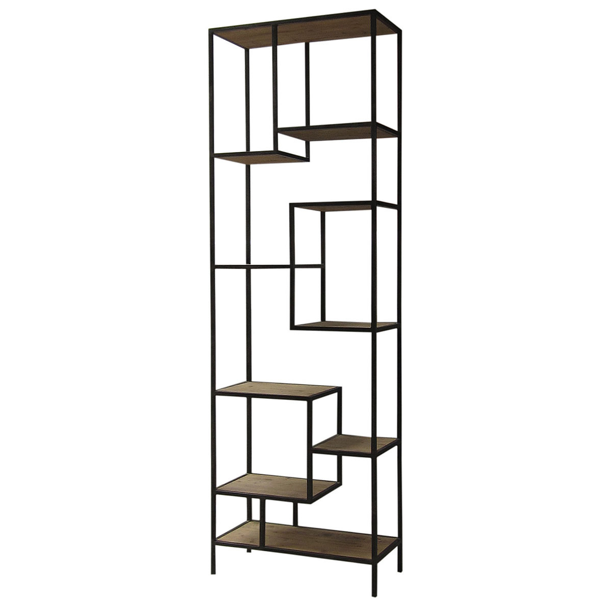 ... FURNITURE Living Room Geometric Reclaimed Wood and Iron Bookcase 102