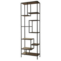 Geometric Reclaimed Wood and Iron Bookcase 102""