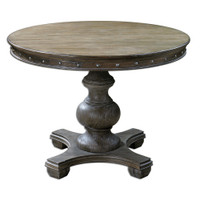 Sylvana Gray Round Pedestal Dining Table 42""