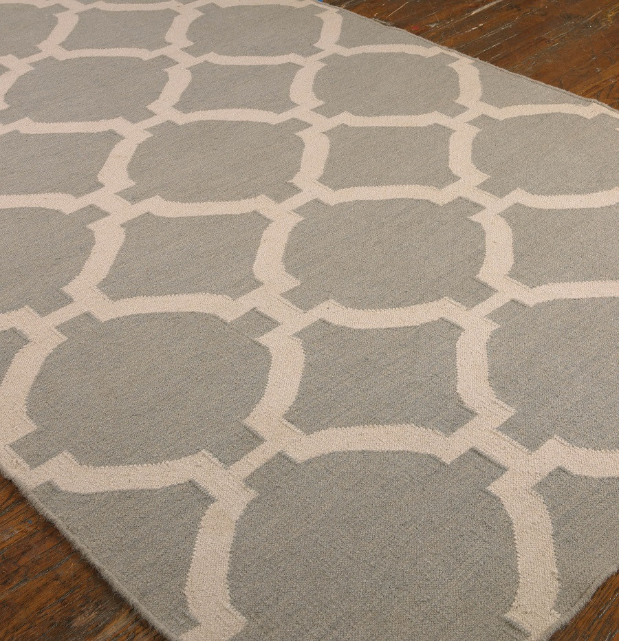 Modern lattice gray wool area rugs zin home for Area rugs contemporary modern
