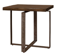 Brant Square Side Table With Wrought Iron Base