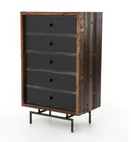 Nash Steel 5 Drawer Highboy Dresser