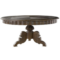 Parisian Vintage Gray Oak Round Pedestal Dining Room Table 63""