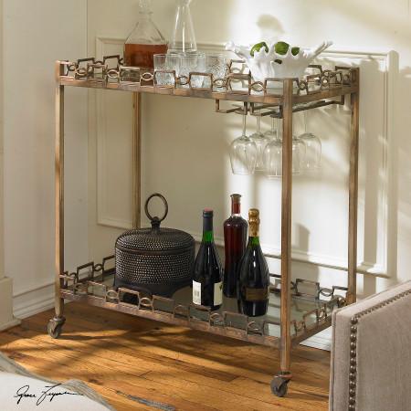 Nicoline Antique Brass Serving Bar Cart On Wheels Zin Home