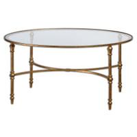 Vitya Gold Leaf Oval Glass Coffee Table