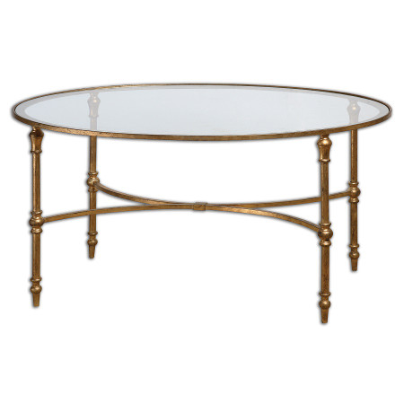Vitya Gold Leaf Oval Glass Coffee Table Zin Home