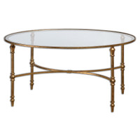 Vitya Gold Leaf Oval Glass Coffee Table