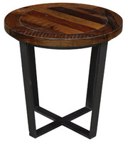 Loft Geometric Metal Base Round Wooden End Table