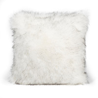 Faux Fox Pillow White with Black