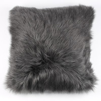 Faux Lamb Pillow Gray