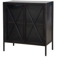 Aged Black Metal Small Cabinet with Glass Doors