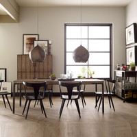 Lorie Driftwood Oak + Iron Industrial Dining Room Table