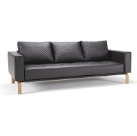 Cassius Q Deluxe Leather Convertible Sofa-Oak Legs