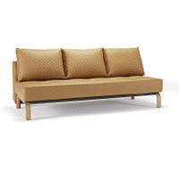 Sly Deluxe Q Full Size Leather Sofa Bed in Camel Leather and oak wood legs