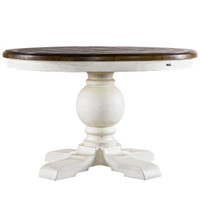 Kingdom Antique White Oak Wood Round Pedestal Dining Room Table 48""