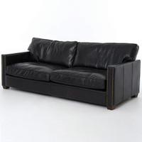 Larkin 88 Leather Sofa-Old Saddle Black