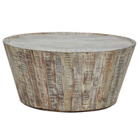 Hampton Rustic Wood Round Barrel Coffee Table 38""