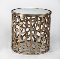 Linus Copper Drum Stool Side Table with Mirrored Top