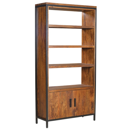 ... Room Bookcases & Shelving Foundry Parson Metal + Wood Bookcase Cabinet