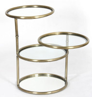 Quincy Antique Brass Swivel Side Table