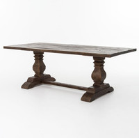 Durham Reclaimed Oak Wood Trestle Dining Table Weathered Umber