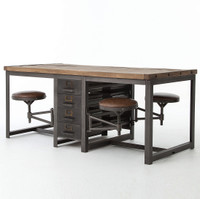Rupert Industrial Architect Work Table Desk With Attached Seating
