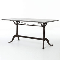 Parisian Industrial Cast Iron and Bluestone Top Bistro Dining Table