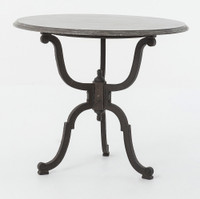 Hughes Iron Bistro Pedestal Table With Bluestone Top