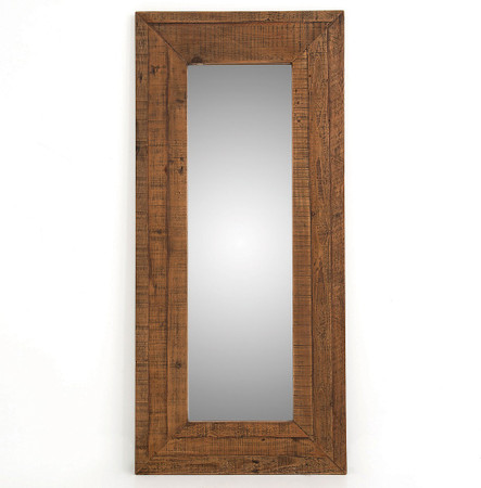 Farmhouse rustic reclaimed wood large floor mirror for Rustic mirror