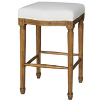 Ashford French White Linen Upholstered Oak Bar Stool
