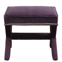 Reese Purple Velvet Nailhead Trim Square Ottoman