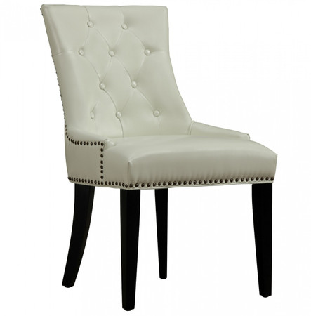 Uptown tufted cream leather dining chair for Tufted leather dining room chairs