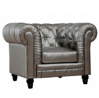 Zahara Silver Leather Chesterfield Club Chair