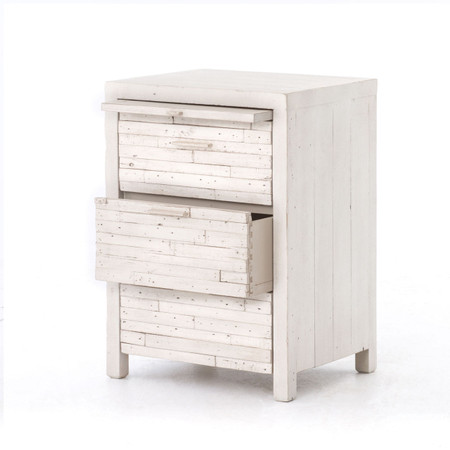 Coastal reclaimed wood white 3 drawer nightstand for White wood nightstand
