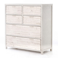 Coastal Reclaimed Wood White 6 Drawer Chest