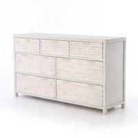 Coastal Reclaimed Wood White 7 Drawer Dresser