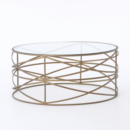 Room Coffee Tables Greer Matte Brass Round Coffee Table With Glass Top