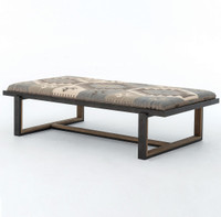 Industrial Iron and Kilim Coffee Table Ottoman