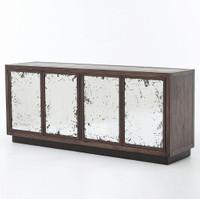 Vaughn Oak Wood Media Cabinet with Mirrored Doors