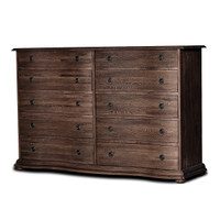 French Solid Wood Rubbed Black 10 Drawer Dresser