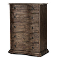 French Solid Wood Black 5 Drawer Tall Narrow Dresser