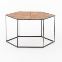 Bronson Reclaimed Wood and Metal Hexagonal Coffee Table