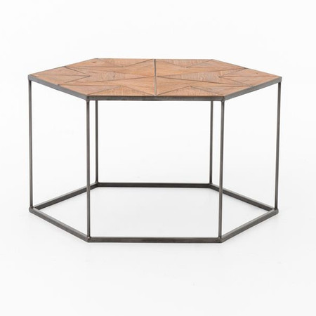 Bronson Reclaimed Wood And Metal Hexagonal Coffee Table Zin Home