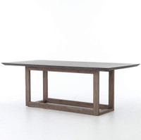 Masonry Wood and Black Concrete Dining Table 79""
