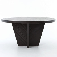 Burnished Black Rustic Wood Round Dining Table 59""