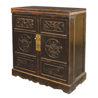 Black Hand Painted Elm Wood Wine Cabinet Bar