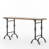 Galvanized Iron + Rustic Oak Foundry Console Table 60""