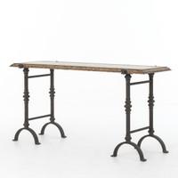 "Galvanized Iron + Rustic Oak Foundry Console Table 60"""