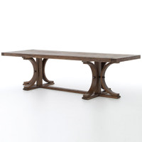 Lugo Farmhouse Reclaimed Wood Trestle Double Pedestal Dining Table