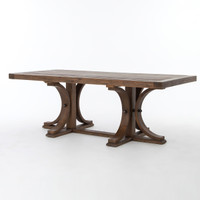 Lugo Farmhouse Trestle Double Pedestal Dining Table 87""